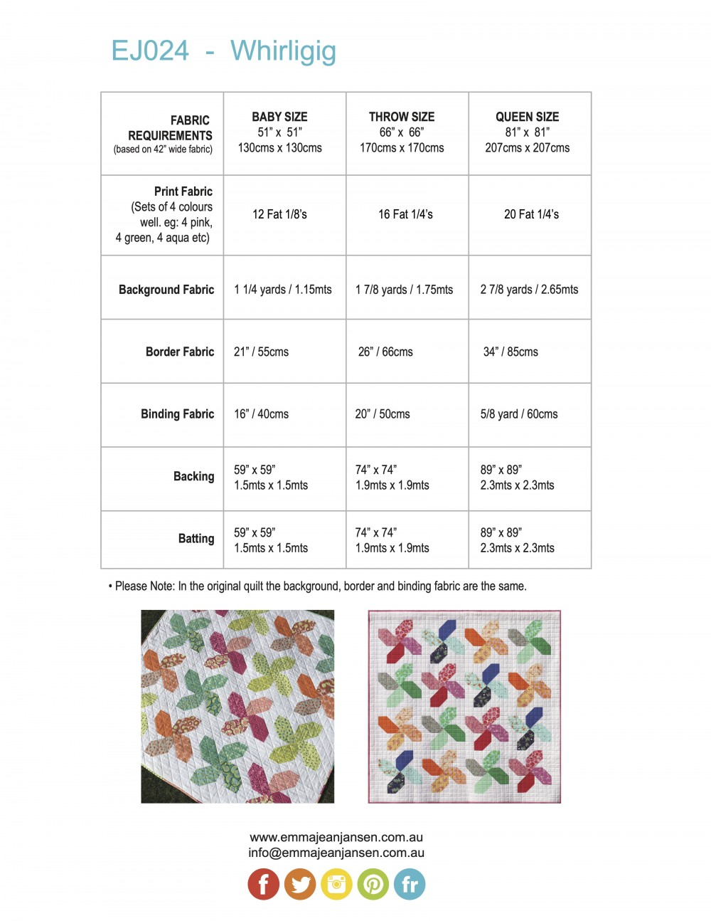 Whirligig Quilt Pattern Requirements